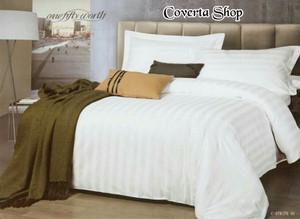 Bed Cover Putih Salur Double Comfoter 220x230cm (Tanpa Sprei)