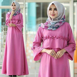 Fashion Muslim/ Dress Muslim Pink Color/ Bermerk/ Populer