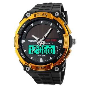 Jam Tangan Pria SKMEI Dual Time Solar Power Original AD1049E Emas