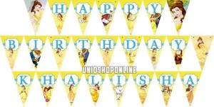 Personalized Birthday bunting flag princess Belle Beauty and the beast