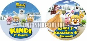 Custom Cutting Birthday Sticker Puding pororo princess belle