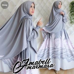 Baju gamis syari amabell maxmara grey