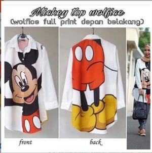 Kemeja Mickey Top/ Desain Menarik/ Murah/ Terlaris