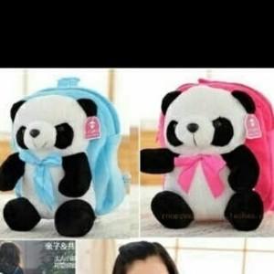 JV-panda backpack Bludru halus boneka nempel