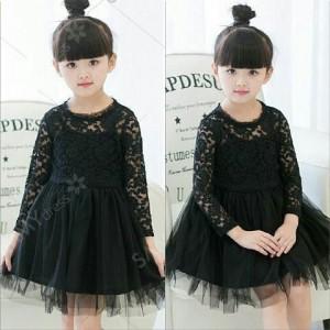 GR - Black Lace tutu Bahan brukat lapis tile uk 2-3th