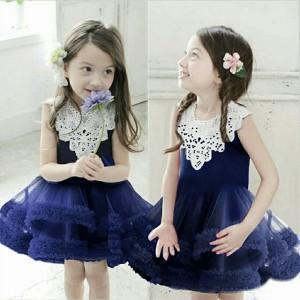 JV -dress kids audrey navy Bhn spndx mix tile brokad fit 2-4thn