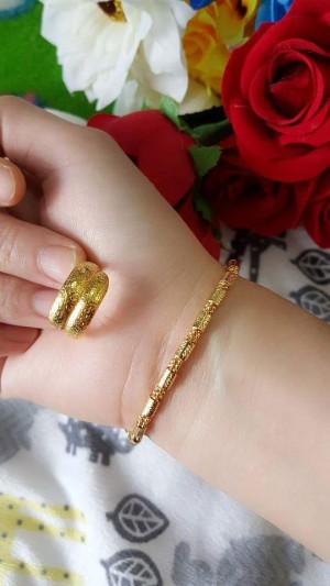 xuping24k gelang tangan tabung plus cincin 2baris