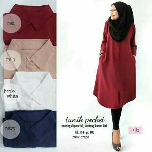 Baju Atasan Blouse Tunik Wanita Baju Muslim Blus Muslim Tunik Pocket