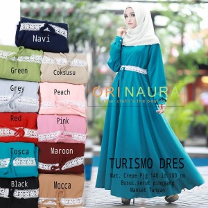 baju muslim gamis dress abaya crepe polos renda turismo ori