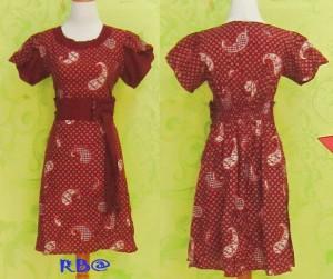 Dress Batik Katun Halus SOPHIA KEONG MERAH
