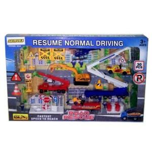 Mainan Diecast Die Cast Truck Contruction Road Rescue 30 pcs model A