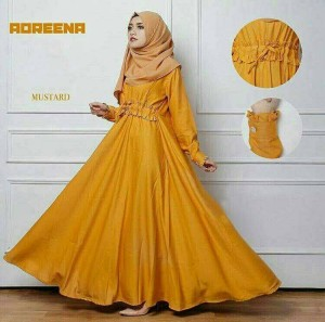 "sc dress adreena maxi mustard "" pakaian longdress wanita"