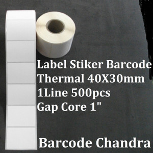 """40X30mm 1Line 500pcs Gap Core 1"""" Direct Thermal, Label Sticker Barcode"""