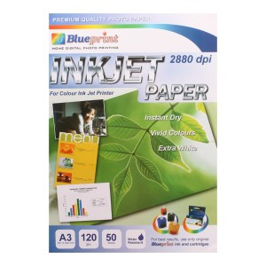 Blueprint Inkjet Paper (BP-IPA3120) - A3, 50 Sheet, 120 Gsm, Cast Coating, Extra White, Water Resistant