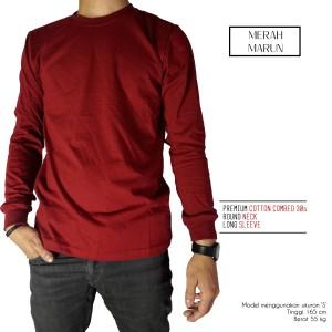 Kaos Polos Lengan Panjang Merah Marun 100% Cotton Combed 30s Reaktif