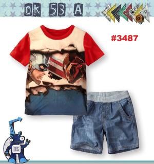 STELAN ANAK ATASAN MERAH SUPER HERO + PANTS (SZ 1-5) RSBY-3487
