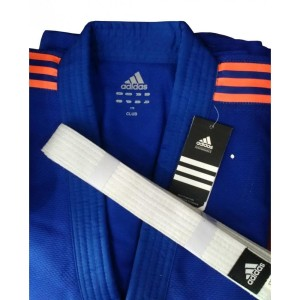 Baju Judo Gi Adidas New Club Blue Strpe Orange