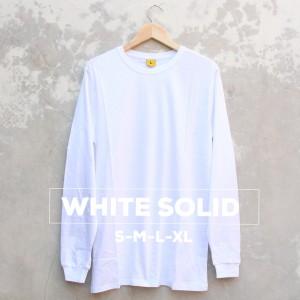 Baju Kaos Polos Lengan Panjang WHITE SOLID Putih Cewek Cowok