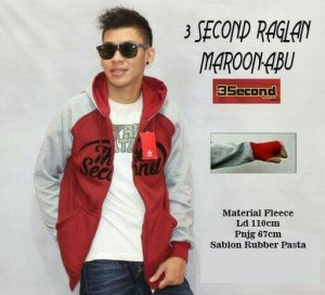 JAKET SWEATER HOODIE 3 SECOND MAROON COMBI ABU