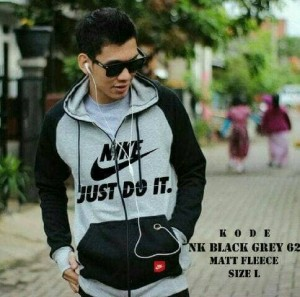 JAKET HOODIE NIKE JUST DO UT ZIPPER ABU COMBI BLACK