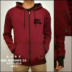 JAKET SWEATER HOODIE MACBETH ZIPPER MAROON BAHAN FLEECE