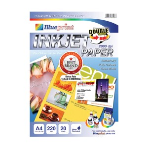 Blueprint Double Sided Inkjet Paper (BP-DSIPA4220) - A4, 20 Sheet, 220gsm, Cast Coating, Extra White, Water Resistant