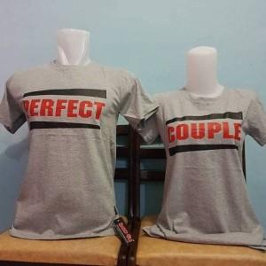 baju couple/pasangan sablonan perfecr couple warna abu