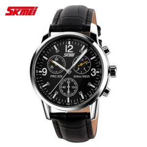 Jam Tangan Pria Original Kulit SKMEI Casio Men Casual Model Black