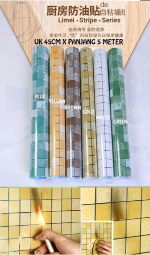 Wallpaper Stiker Dapur Foil Anti Minyak Api Uk 45cm X Panja