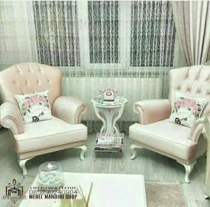 Set Kursi Sofa Teras Minimalis Pink