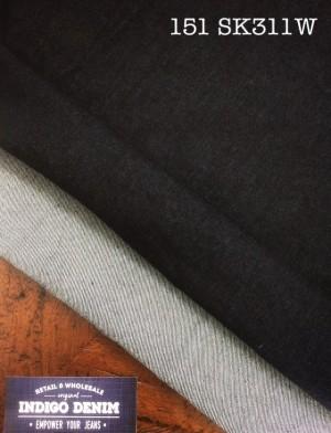151 - Denim Blue Black Stretch Washed Ketebalan Medium Bahan Celana