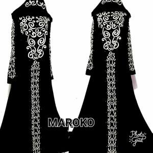maroko- abaya bordil murah/dress bordir hitam murah/gamis hitam murah