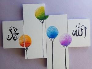 lukisan kaligrafi pohon unik