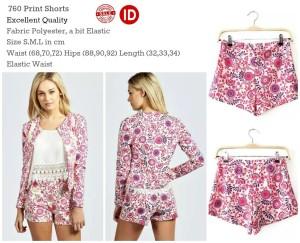 **SALE** ID760 PINK Print Short Pants KODE vc11468