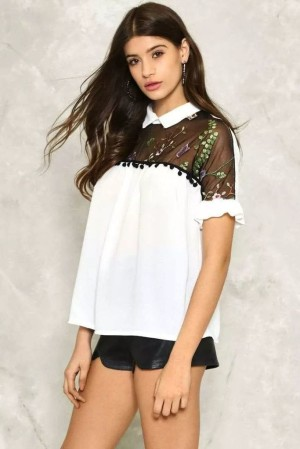 Top - Atasan Pakaian Wanita White Lace Brocade (S) 346042