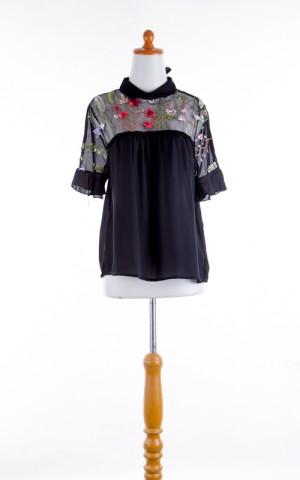 Top - Atasan Pakaian Wanita Black Lace Brocade (M) 346042