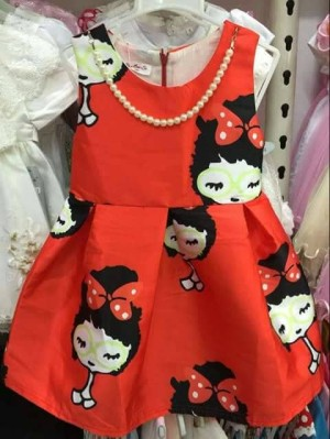 D7518 DRESS RED WITH NECKLACE  DRESS ANAK IMPO KODE RR7518