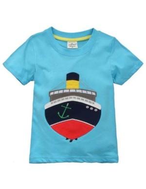 (SALE) Baju atasan anak cowok biru gambar perahu import bagus murah