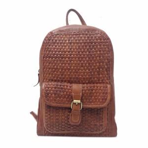 tas kulit asli - rangsel full anyam new - tas kulit ransel jati