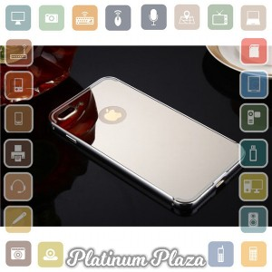Aluminium Bumper with Mirror Back Cover for iPhone 7 Pl`67CM45- Silver