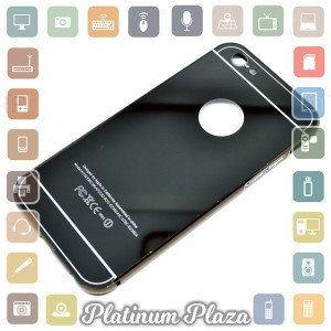 Aluminium Bumper with Mirror Back Cover for iPhone 6 Plu`67C9N8- Black