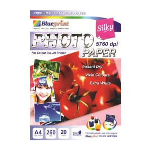 Blueprint Silky Photo Paper (BP-SPA4260)- A4, 20 Sheet, 260gsm, Cast Coating, Silky, Water Resistant
