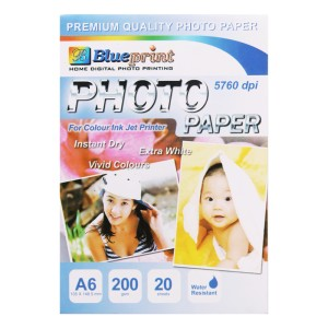 Blueprint Photo Paper (BP-GPA6200) - A6, 20 Sheet, 200 Gsm, Cast Coating, Glossy, Water Resistant