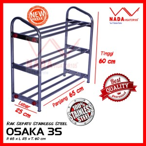 OSAKA Rak Sepatu Sandal stainless steel 3 Susun