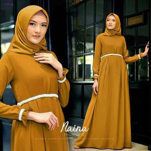 Jual Dress Muslim Wanita - Naina Dress Bahan Balotely - Populer - Cute