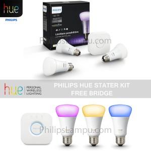Lampu Led Wireless Warna - Philips Hue Set Free Bridge (3 Led 1Bridge)