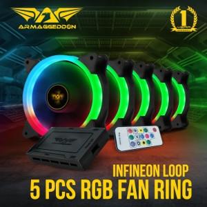 5 pcs Fan PC Armageddon Infineon Loop Single Ring LED RGB