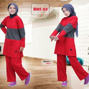 setelan olahraga muslim syari senam lari syar'i baju celana training - Turquoise, XL