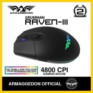 Mouse Gaming Armaggeddon Raven-III (4800 CPI) RGB Free Mousematt