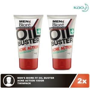 Men'S Biore Facial Foam Oil Buster Acne Action 100gr Twinpack